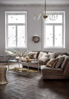 Love everything. White walls Simple decor Uncluttered Gold accent Beautiful.  Svensgården