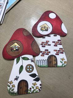 Cutest shaped mushroom gnome home notecards - handmade using Stampendous clear stamps and dies and Copic Markers. Created my Meg Shea, Chloe and Phoebe Crafts.