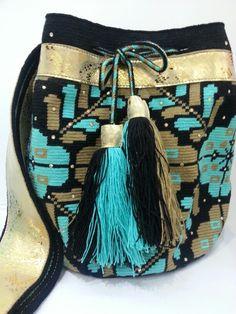 #mochila #swarovsky #wayuu #handmade #ethnic #leather #gold