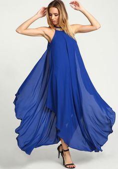 Royal Golden Goddess Maxi Dress, ROYAL BLUE