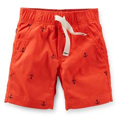 With pork chop pockets, a drawstring and comfortable elastic waistband, these shorts are just right for his warm weather adventures. An anchor print add lots of style, too! Boys Summer Outfits, Toddler Boy Outfits, Toddler Fashion, Toddler Boys, Kids Outfits, Cool Outfits, Baby Boy Bottoms, Carter Kids, Little Boy Fashion