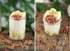 Schoko Nuss Porridge im Glas! Vegane Schokolade, Bananen und Nüsse - einfach nur lecker!
