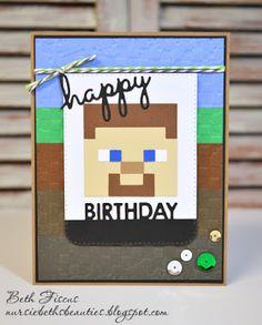 Beth's Beauties: Minecraft Happy Birthday card using Limeade and Chocolate Truffle Trendy Twine #trendytwine #minecraft