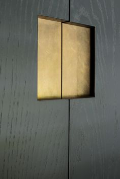 beautiful recessed handles inlaid with brass