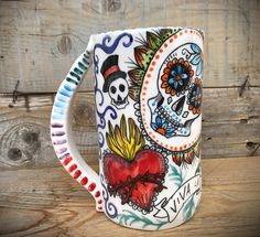 beer stein in ceramic colorful mexican style sugar skull