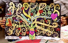 smART Class: Gustav Klimt Tree of Life and so much more! Gustav Klimt, Klimt Art, Tree Of Life Painting, Tree Of Life Art, Tree Art, Painting Art, Arte Elemental, Art Du Monde, 4th Grade Art