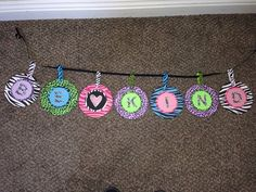 Be Kind banner to hang up in your classroom Cute Banners, Classroom, Jewelry, Class Room, Jewlery, Jewerly, Schmuck, Jewels, Jewelery