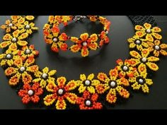 Making Daisy Necklace - Part Seed Bead Tutorials, Beading Tutorials, Beaded Jewelry Patterns, Beading Patterns, Bead Crafts, Jewelry Crafts, Handmade Jewelry, Handmade Necklaces, Bead Earrings