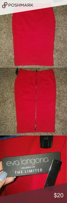 "The Limited Red Pencil Skirt w/ Zipper Detail Sz L Classic red pencil skirt with a modern back zipper detail. Eva Longoria for the Limited in size Large, Petite. ""Body hugging, super stretch."" Brand new with tags The Limited Skirts Pencil"