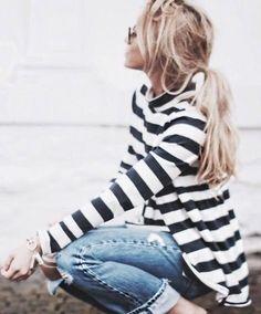 striped top   denim