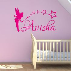 Custom Any Name Home Decor Art Sticker Fairy and Stars Wall Decal For Girls Room Baby Girl Nursery Vinyl Wall Stickers Baby Nursery Themes, Star Nursery, Baby Room Decor, Girl Nursery, Girl Room, Room Baby, Bedroom Decor, Custom Car Decals, Custom Stickers