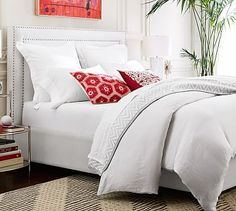 Tamsen Square Upholstered Bed & Headboard #potterybarn NAVY WITH PEWTER STUDS QUEEN BED