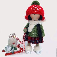 Купить Люблю подарки - комбинированный, Новый Год, любимая игрушка, радостное настроение, текстильная игрушка