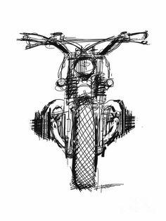 Car Drawings, Pencil Art Drawings, Cool Art Drawings, Art Sketches, Motorcycle Art, Bike Art, Classic Motorcycle, Fine Art Amerika, Art Moto