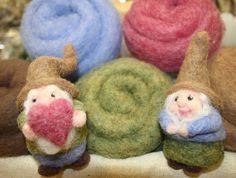 Needled felted love gnome couple