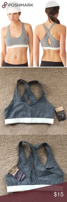 ALTERNATIVE APPAREL eco Lycra gray sports bra I love sports bras from Alternative Apparel but I already had the same one so this one has never been worn. Gray eco Lycra with cross cross back. Oatmeal colored supportive band. This was originally $42! Alternative Apparel Intimates & Sleepwear Bras