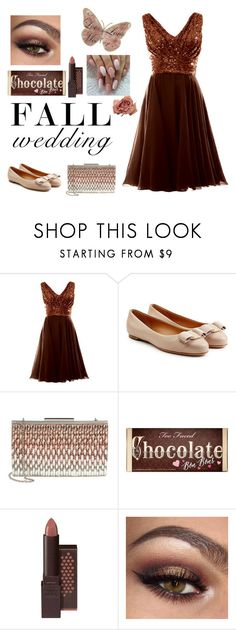 """""""Falling in Love with Chocolate"""" by stephaniefb ❤ liked on Polyvore featuring Salvatore Ferragamo, Glint, Too Faced Cosmetics and Burt's Bees"""