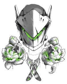 "fandonymous: "" FLORAL OVERWATCH // GENJI + PEONIES Part one of ? """