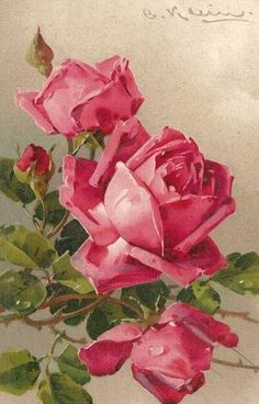 Catherine Klein roses.  She painted a mirror image of this painting as well.                                                                                                                                                      More