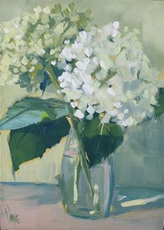 """Daily Paintworks - """" Home Grown Hydrangeas"""" - Original Fine Art for Sale - © Patty Voje Watercolor Paintings, Abstract Paintings, Art Paintings, Painting Art, Landscape Paintings, Hydrangea Painting, Acrylic Art, Fine Art Gallery, Painting Inspiration"""