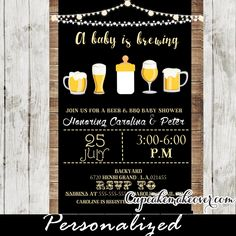 Printable Beer and BBQ Couples Baby Shower invitation. This coed shower BabyQ invitation features backyard string lights, glasses of frothy beer and a milk bottle against a wood plan backdrop for a laid back, All-American country picnic feel. #cupcakemakeover