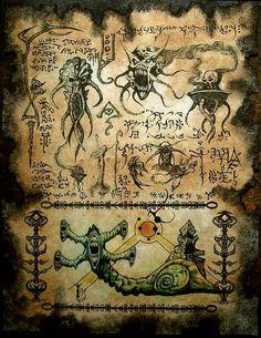 Demonology VII by MrZarono on DeviantArt Larp, Necronomicon Lovecraft, Satanic Art, Dark Artwork, Hp Lovecraft, Call Of Cthulhu, Demonology, Necromancer, Magic Book