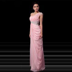osell wholesale dropship Chiffon One Shoulder Beading Rhinestone Sleeveless Floor Length A Line Evening Prom Dress $84.08