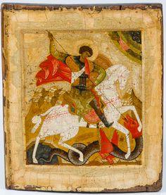 St George, Russian, Novgorod School c.1500 Russian Icons, Saints, School, Painting, Art, Art Background, Painting Art, Kunst, Paintings