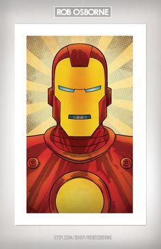 Avengers IRON MAN Comic Book Superhero Pop Art Print 11x17 by Rob Osborne