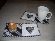 Set of 2 Black & White Heart Pieced Quilted Candle Mat and/or Mug Rugs