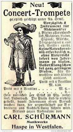 Original-Werbung/ Anzeige 1897 - CONCERT - TROMPETE / SCHÜRMANN - HASPE - ca. 45 x 80 mm