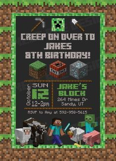 Minecraft Party Invitation Template Fresh Minecraft Birthday Invitation Minecraft by Sweetbeedesignshoppe Minecraft Birthday Invitations, Minecraft Birthday Party, 6th Birthday Parties, 8th Birthday, Birthday Party Invitations, Minecraft Party Ideas, Birthdays, Template, Printable Party