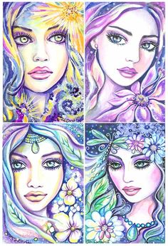 Fashion Face Girl Watercolor Illustration Mystic by evitaworks, $14.99