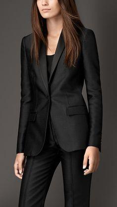 Black Tailored Silk Blend Jacquard Jacket - Image 1