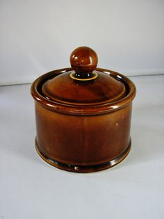 Vintage brown ceramic pot with lid Ulster Ceramics by TheIrishBarn