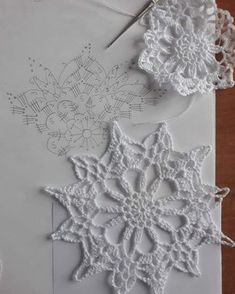 New crochet christmas snowflakes pattern cross stitch ideas Mandala Au Crochet, Crochet Snowflake Pattern, Christmas Crochet Patterns, Crochet Stars, Crochet Ornaments, Crochet Motifs, Holiday Crochet, Crochet Snowflakes, Crochet Diagram