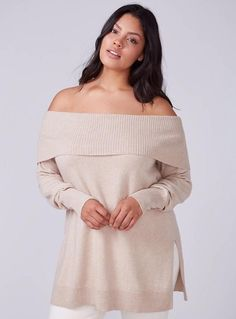 772d0f41592 LANE BRYANT Women Cashmere Cotton Off-Shoulder Tunic Sweater Sz 18-20 Beige  1037