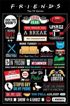 Friends TV Show Quotes Typography Poster Paper Print - TV Series posters in… Tv: Friends, Frases Friends, Serie Friends, Friends Episodes, Friends Moments, Monica Rachel, David Crane, Friends Poster, Ross Geller