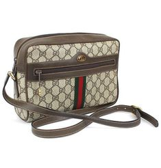 6711e365b8b8 Gucci Vintage Sherry Line GG Canvas Leather Brown Shoulder Bag From Japan