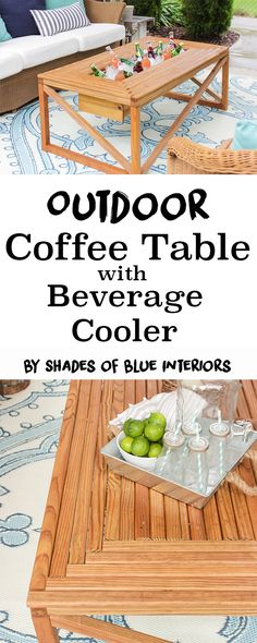 How to make an outdoor coffee table with beverage cooler. Can hold plants instead of drinks, and has a flush-fit lid for greater table space.