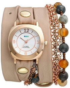 I Love this watch! Stones' Leather & Chain Wrap Bracelet Watch, 35mm x 33mm #accessories #watch #bracelet