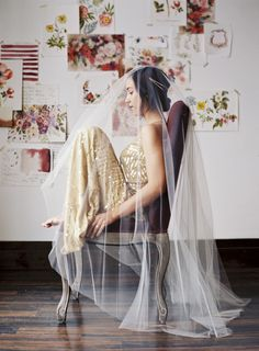 Stunning Veiled Wedding Portrait | Loblee Photography | Modern Floral Print and Gold Sequin Bridal Portraits