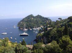 The amazing view of Portofino and the sea from Hotel Splendido, Italy.