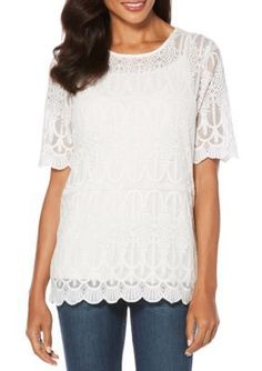 Rafaella Women's Embroidered Mesh Lace Detail Top - White - Xl