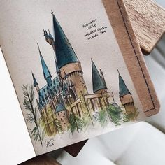 "Sharon Tan on Instagram: ""Sketch of Hogwarts Castle on my #bnottee notebook before scribbling around it. I usually draw before journalling so I don't have such a hard time estimating how much space to leave for writing """