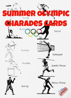 Summer Olympic Charades Free Printable from Toddler Approved (summer party games hilarious) Olympic Games For Kids, Olympic Idea, Winter Olympic Games, Kids Olympics, Summer Olympics, Office Olympics, 2020 Olympics, Olympic Gymnastics, Olympic Sports