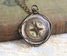 Compass Pendant of wire wrapped glass - Steampunk Jewelry - Pirate Inspired - none working image