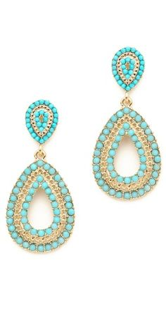 Juliet & Company Turquoise Beaded Earrings These would go nicely with several coral summer tops I own!