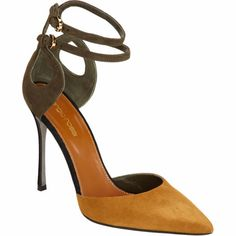 """Sergio Rossi - Fall 2013-2014 - Tricolor suede pointed toe two-piece pump with cutout-detailed heel counter and adjustable double ankle strap. Brass-tone mini D-ring buckles. Approximately 4"""" heel (105mm). Leather sole. Available in Mustard/Army Green/Black. Made in Italy."""