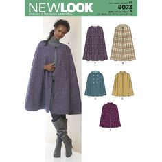 Misses' cape in two lengths with collar, hood and closure variations. New Look…